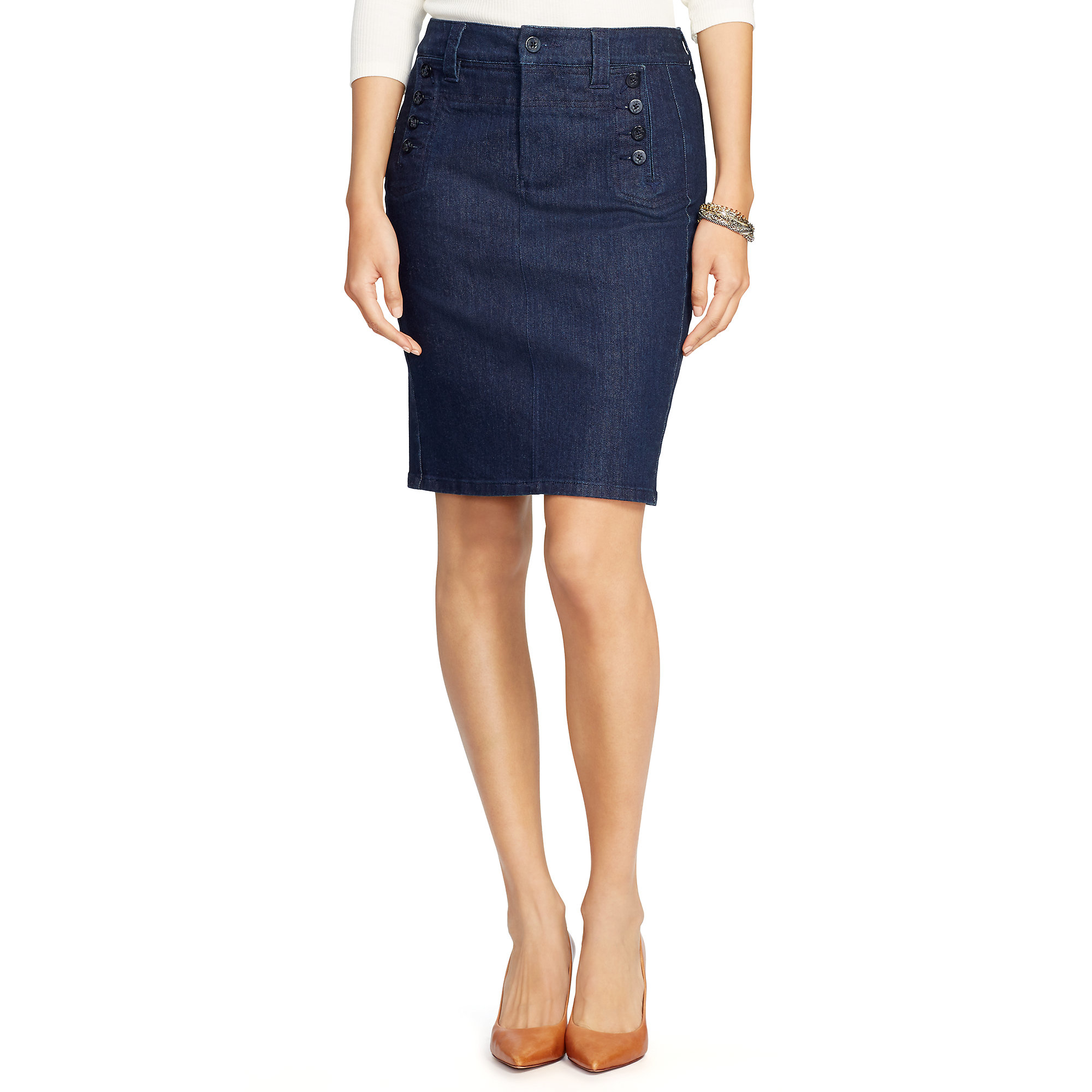 pink pony stretch denim pencil skirt in blue lyst
