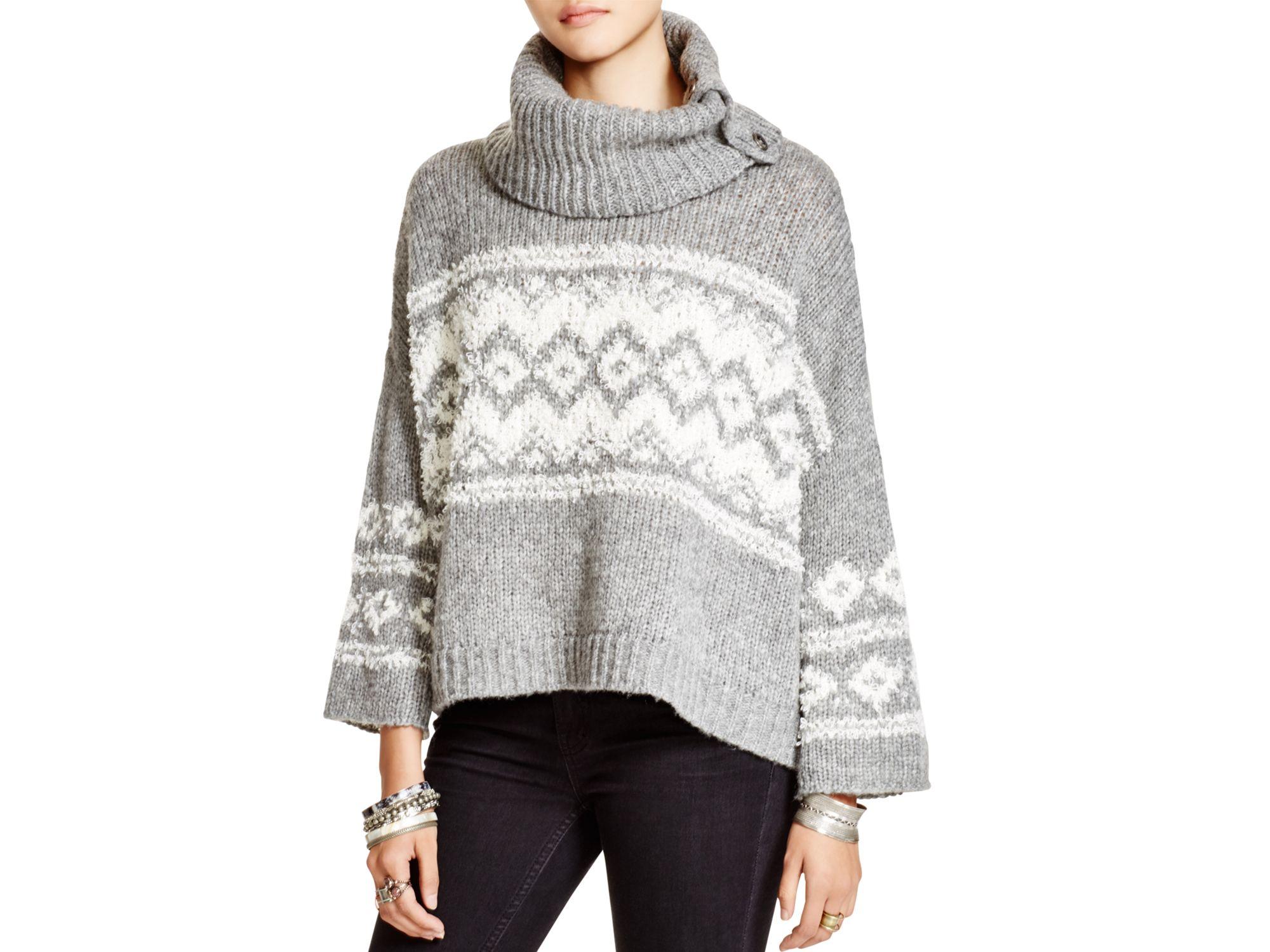 Free People Fair Isle Split Neck Sweater In Gray Lyst