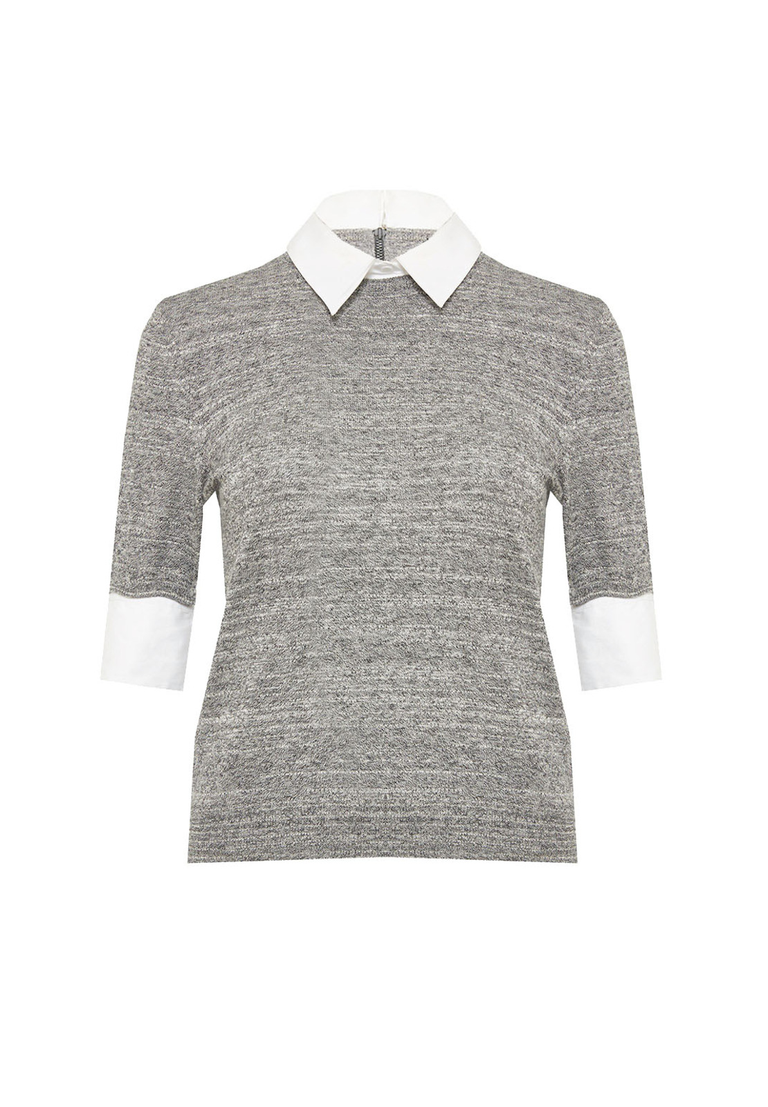 Alice   olivia Short Sleeve Fitted Crew Neck Sweater With Collar ...