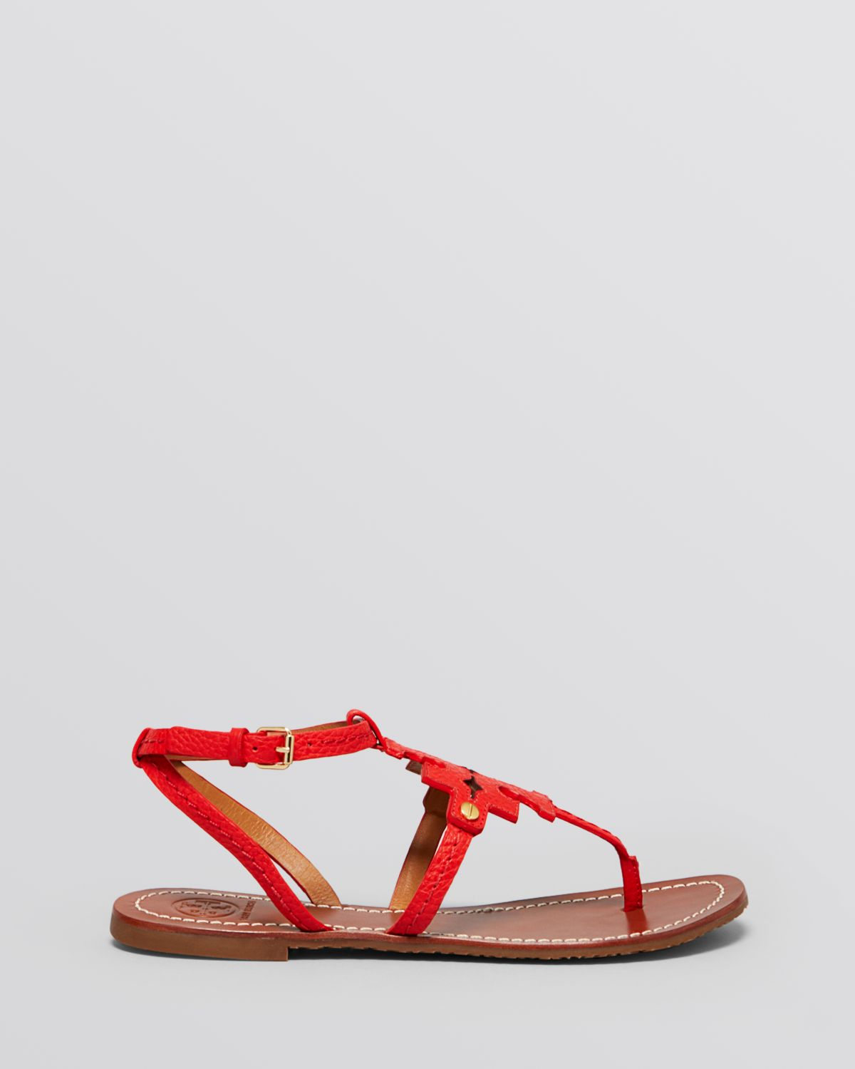 737a35df059c8b Tory Burch Flat Thong Sandals - Chandler Logo in Red - Lyst