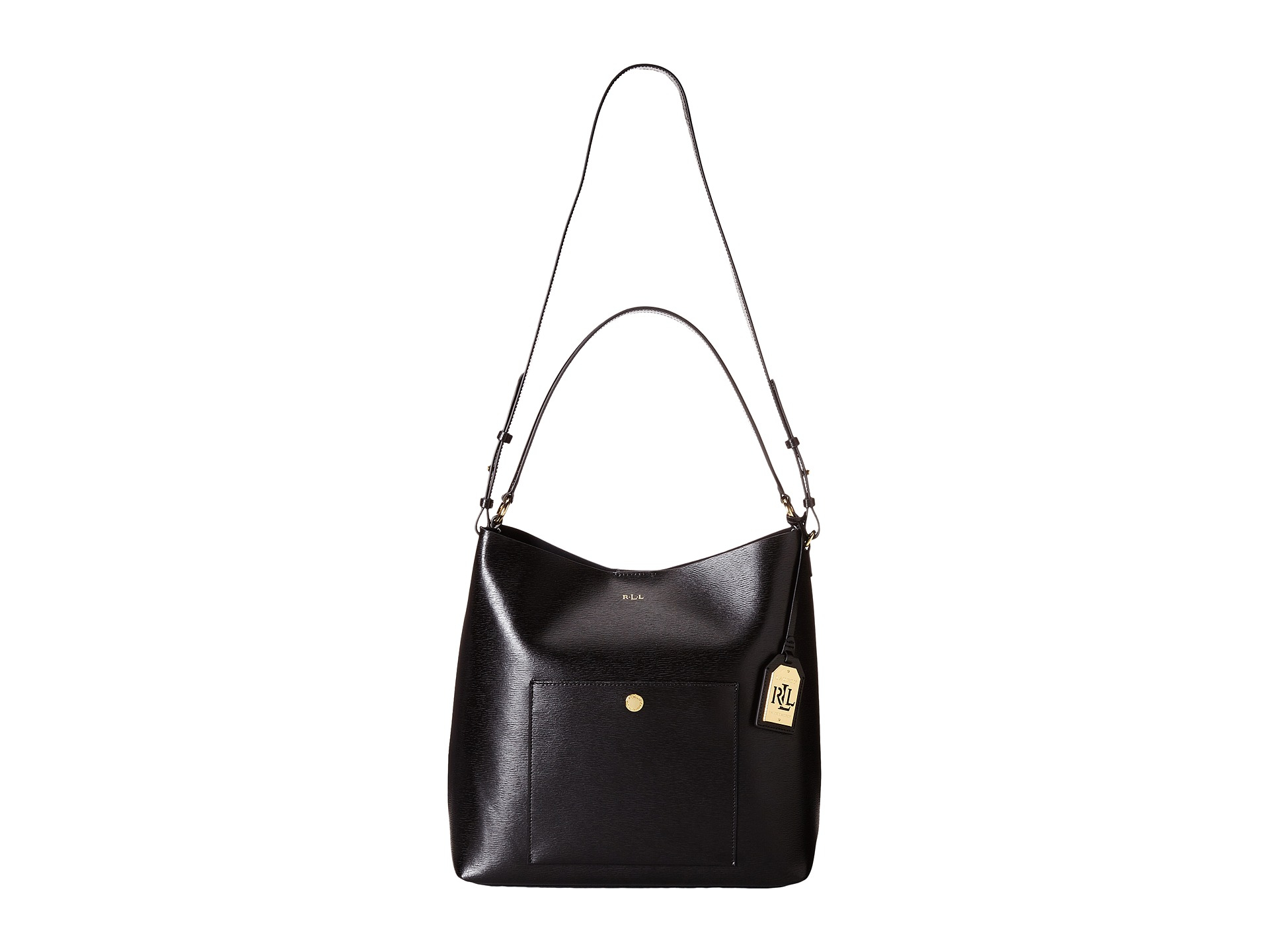 Lyst - Lauren by Ralph Lauren Newbury Pocket Hobo in Black a107746d1d3f8