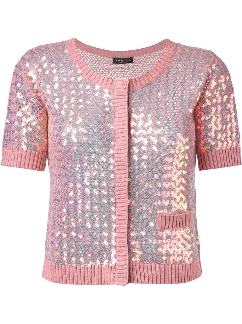 Twin set Sequin Embellished Cardigan in Pink | Lyst
