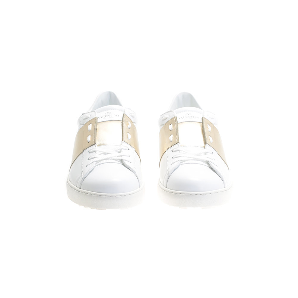 valentino gold and white open leather sneakers in white