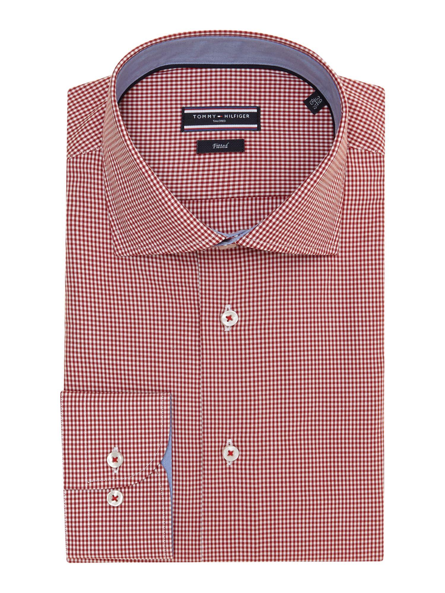 Tommy hilfiger gingham regular fit shirt in red for men lyst for Tommy hilfiger gingham dress shirt