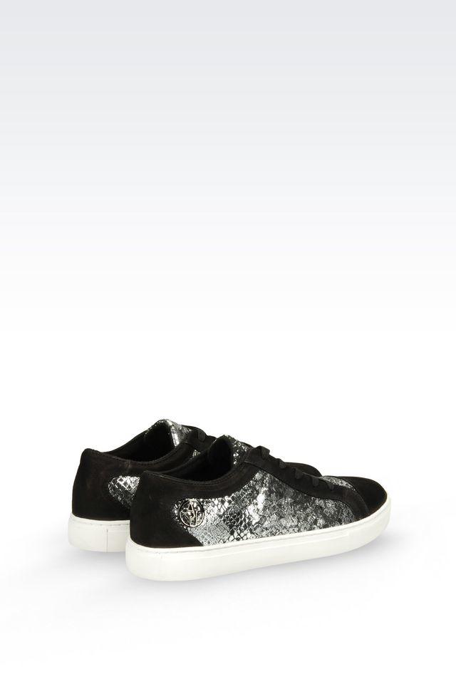 armani jeans sneaker in metallic lyst. Black Bedroom Furniture Sets. Home Design Ideas