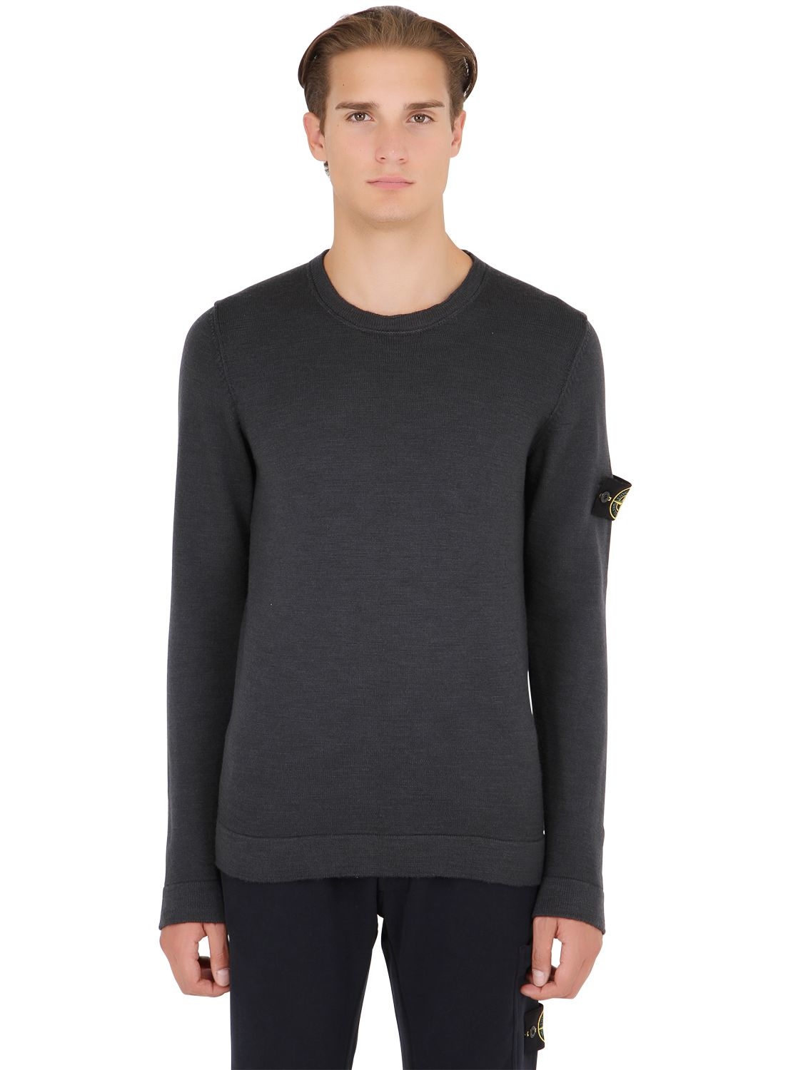 lyst stone island crew neck wool sweater in gray for men. Black Bedroom Furniture Sets. Home Design Ideas
