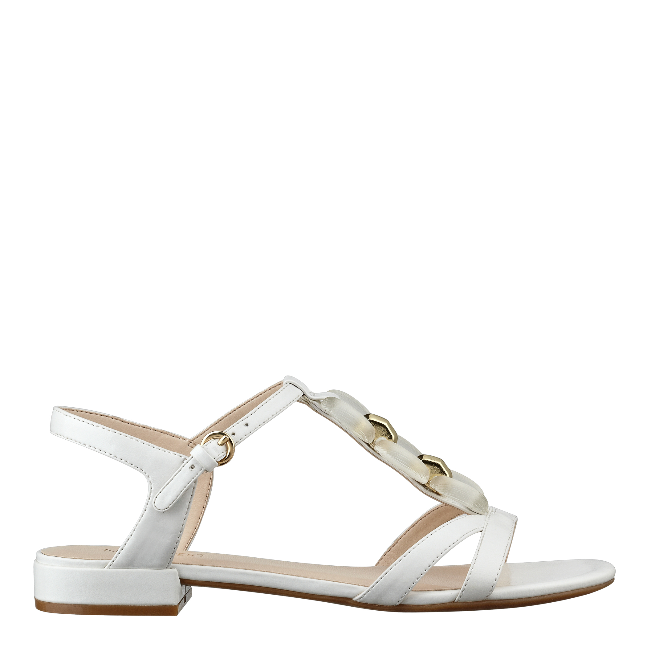 d8d59c8fd40f Lyst - Nine West Wellplayed T-Strap Flat Sandals in White