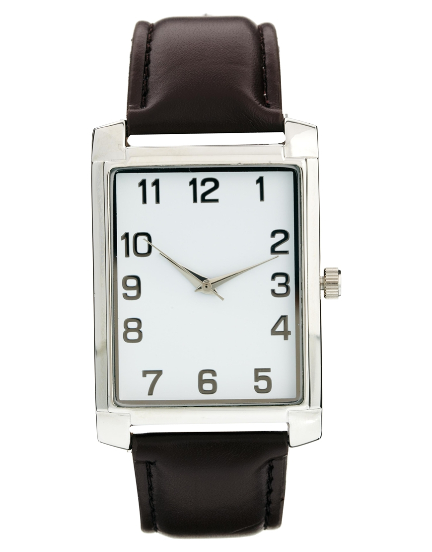 Lyst Asos Watch With Square Face In Brown For Men