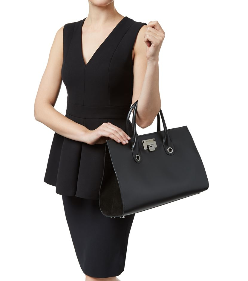 Jimmy choo Riley Leather And Suede Tote in Black