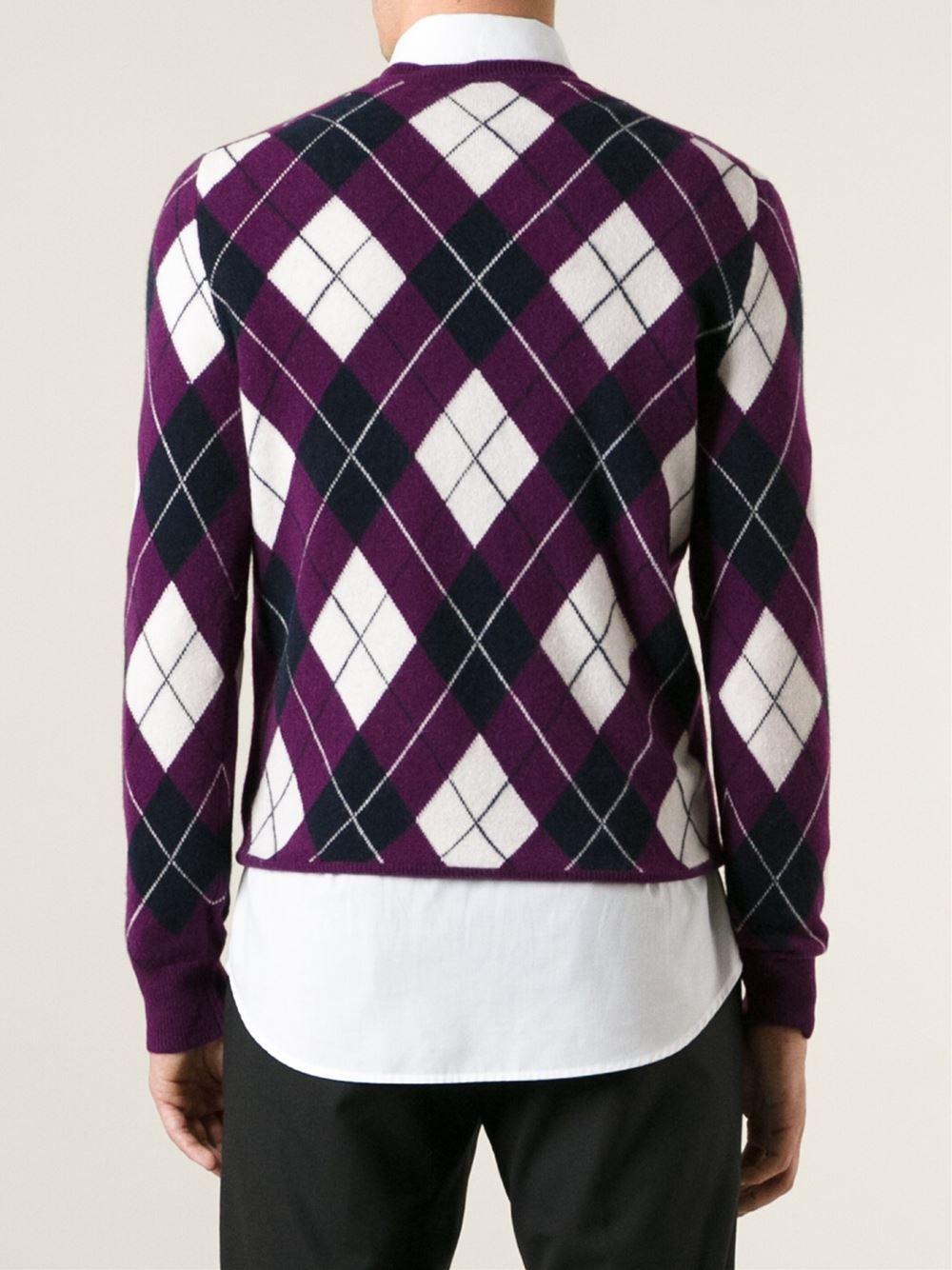 ec7484e4c Burberry Argyle Pattern Sweater in Purple for Men - Lyst