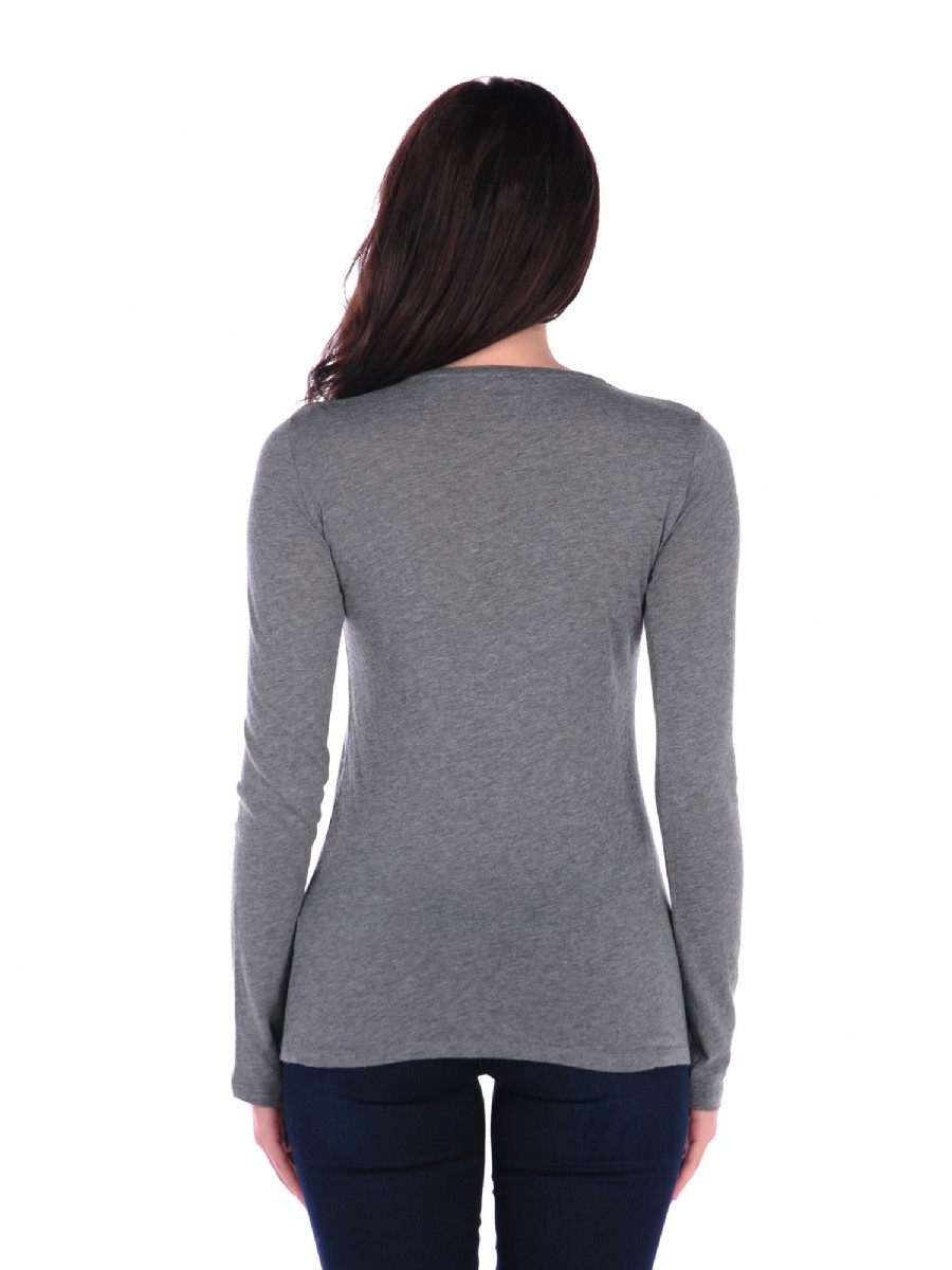 Majestic Long Sleeve Cotton Cashmere Crewneck In Gray