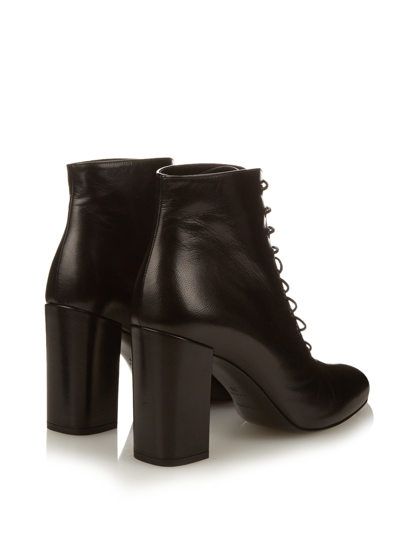 Saint laurent Babies Lace-up Leather Ankle Boots in Black | Lyst