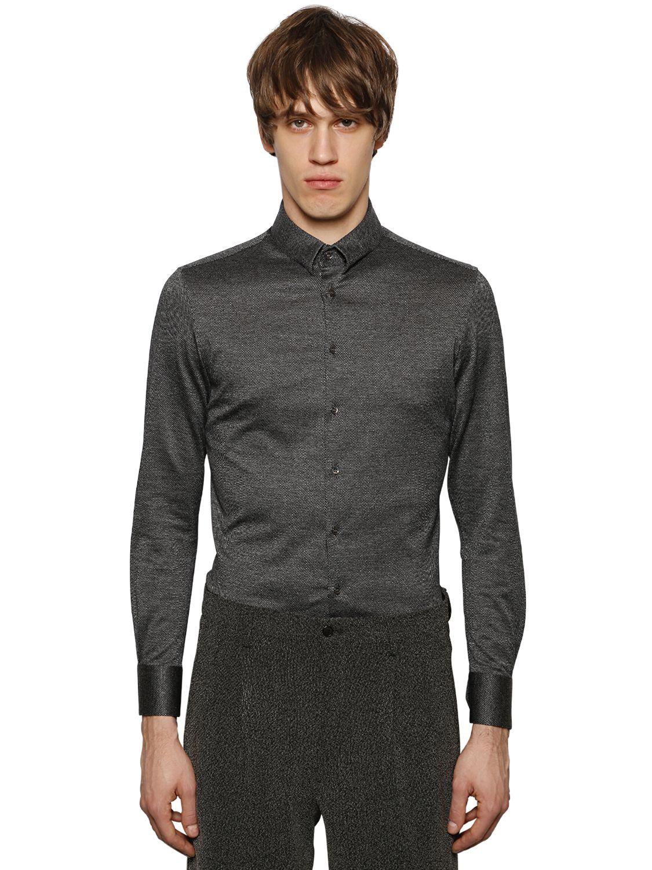 giorgio armani cotton jersey jacquard shirt in gray for