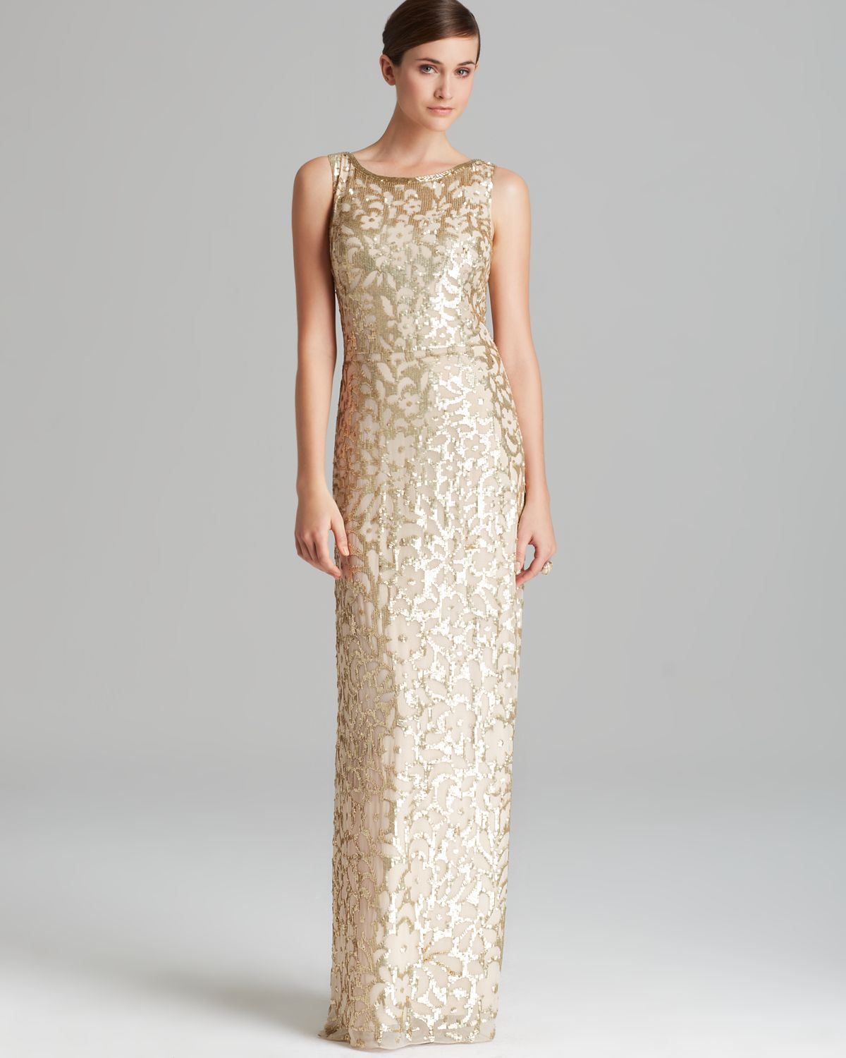 Aidan mattox Column Gown Sleeveless Sequin Patterned in Metallic ...