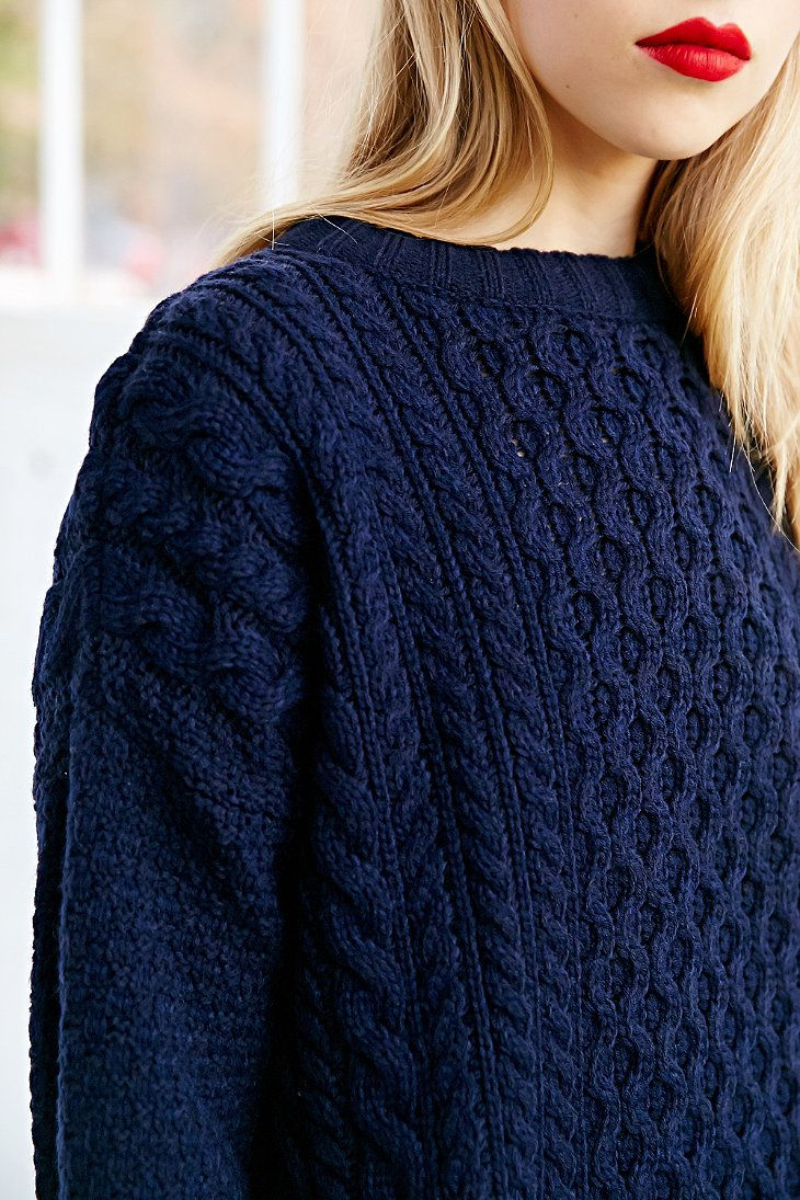 Bdg Honeycomb Cable Knit Sweater in Blue | Lyst