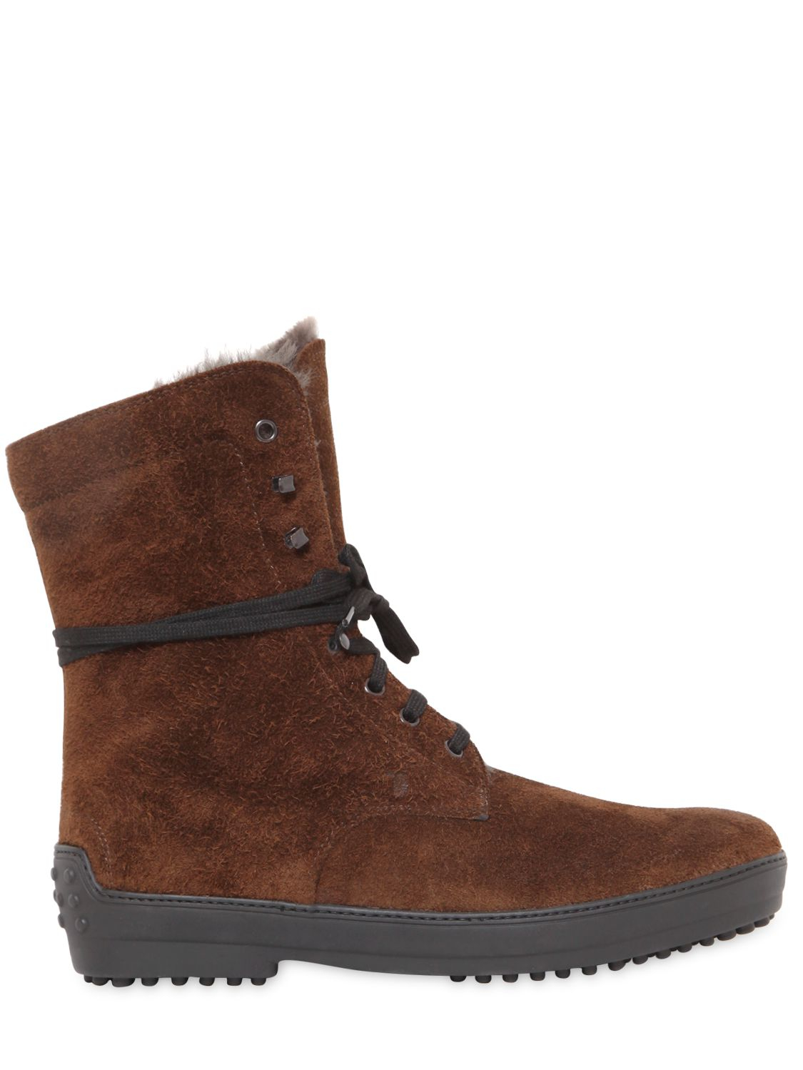 Mens Wrinkled Leather Lace-Up Boots Tod's jQGElZ
