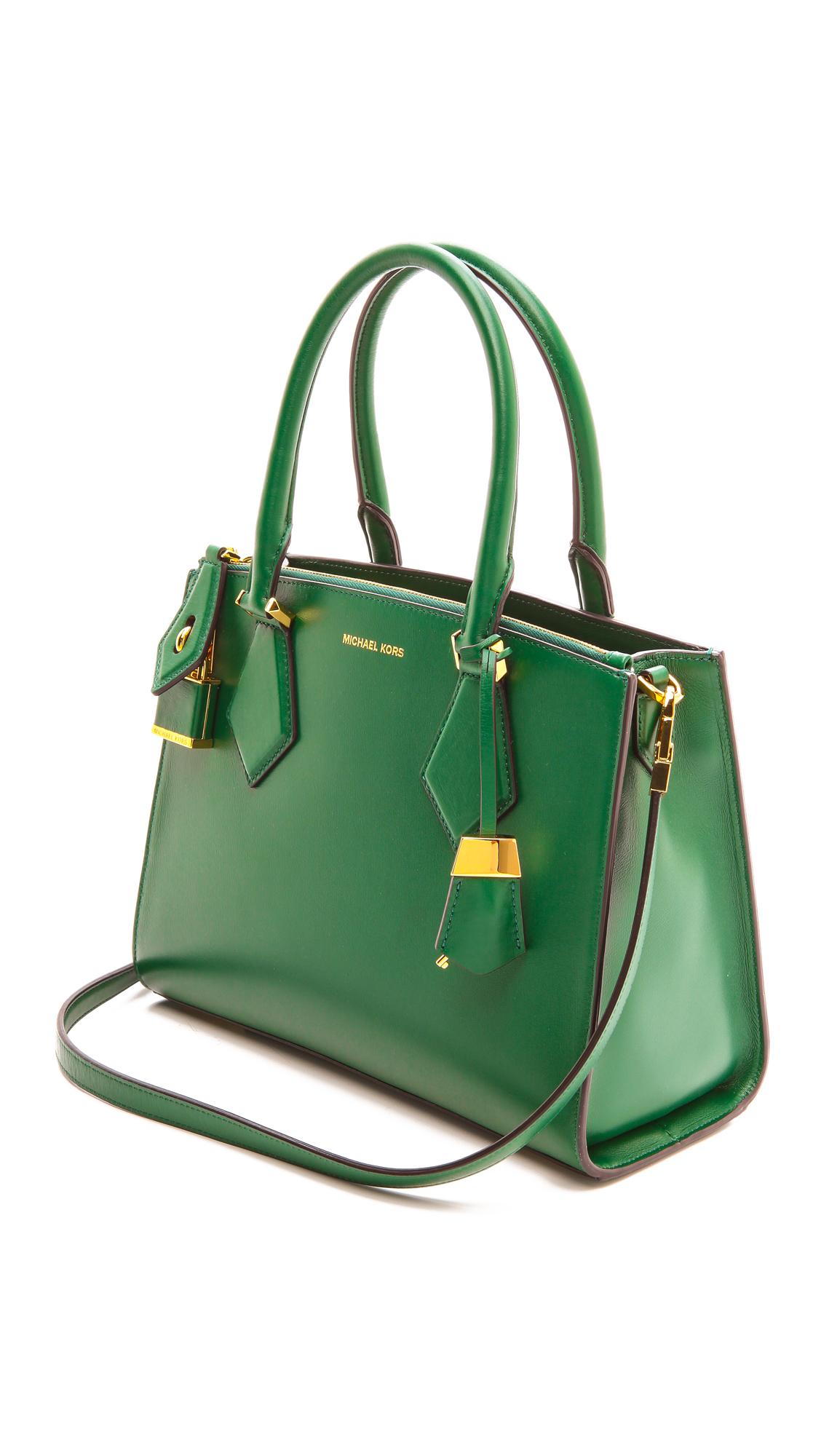 4fb5bc3cda93 ... get lyst michael kors casey medium satchel dark emerald in green bcea5  3d366