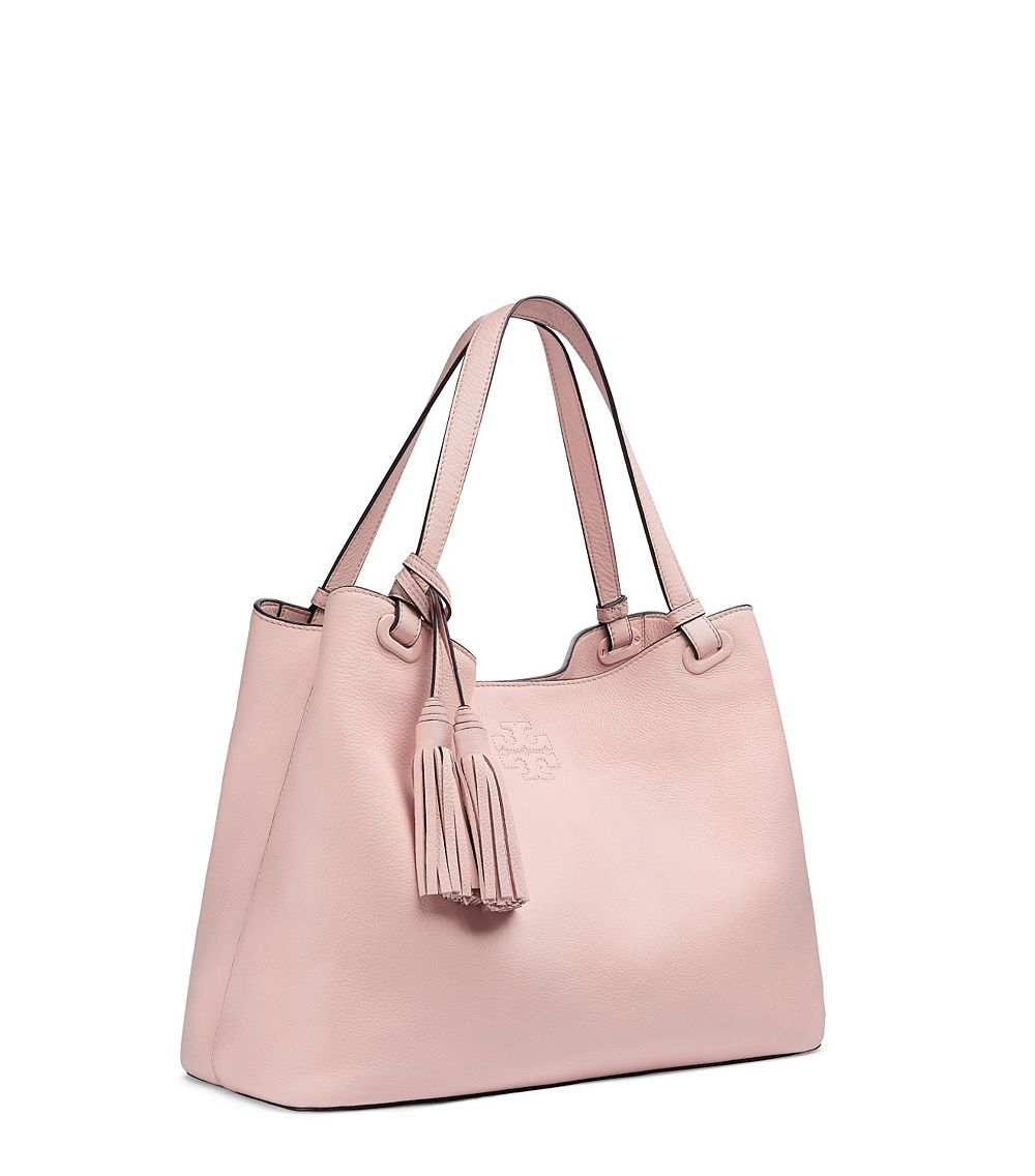 606a34c4f51 Tory Burch Thea Center-Zip Leather Tote in Pink - Lyst