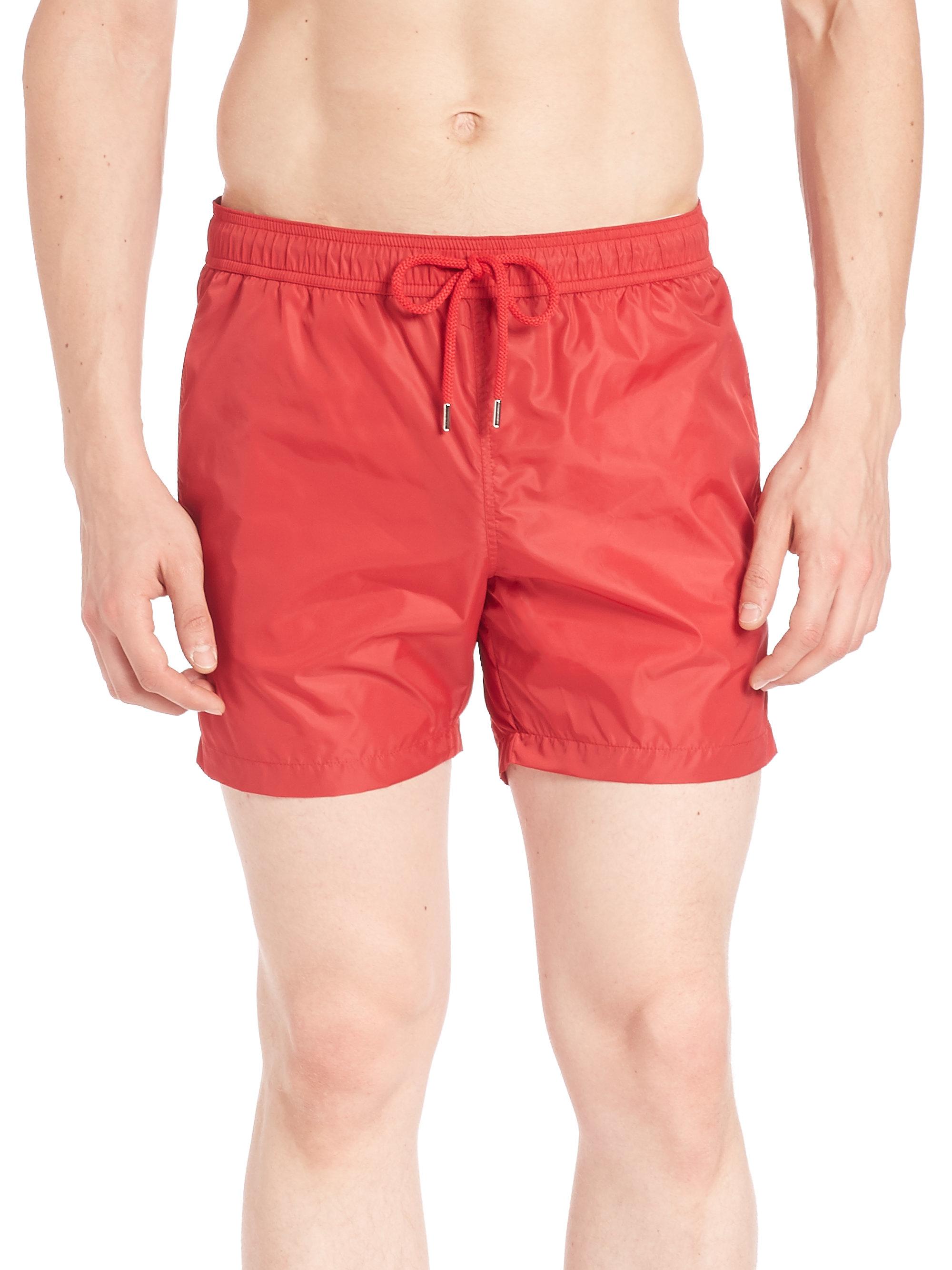 moncler red swim shorts