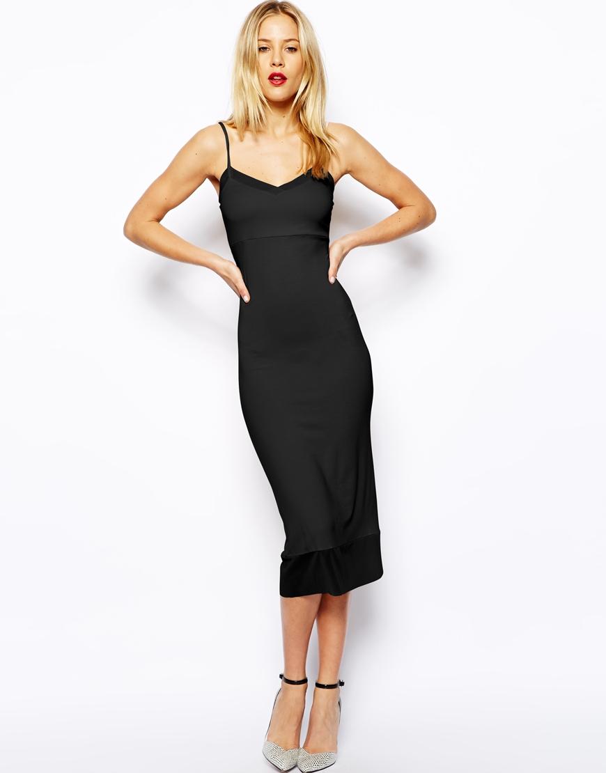 Black cami midi dress