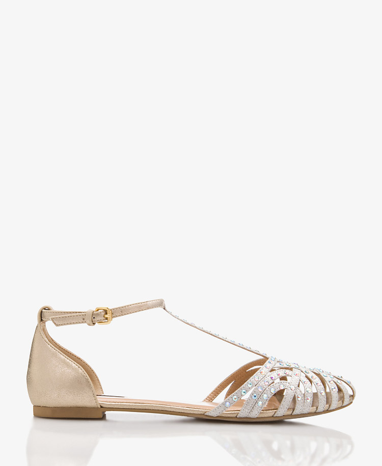 106a4bd88 Lyst - Forever 21 Mirrored T-Strap Flats in Metallic