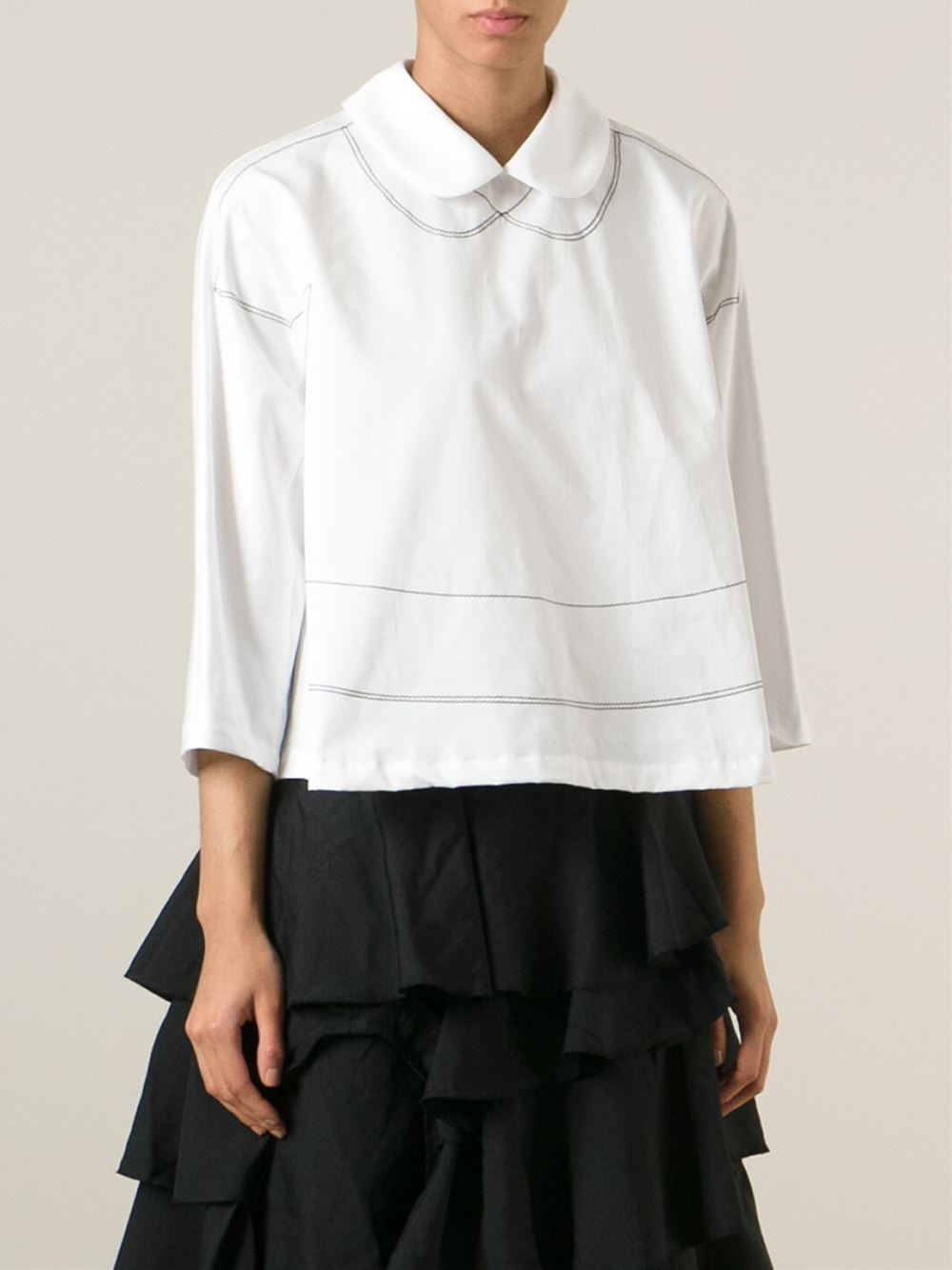 Lyst Comme Des Garcons Peter Pan Collar Shirt In White
