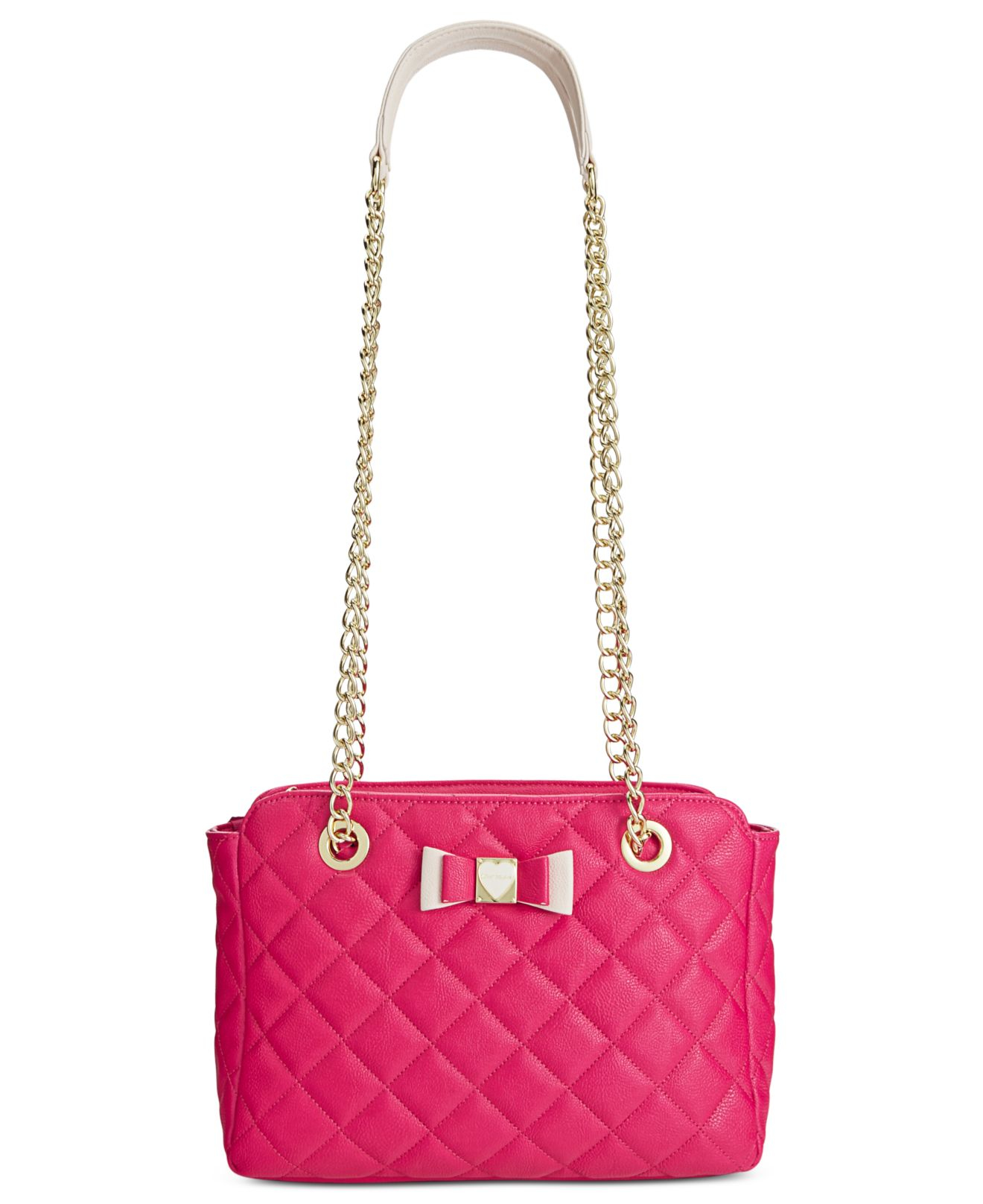 betsey johnson quilted shoulder bag in multicolor fuschia