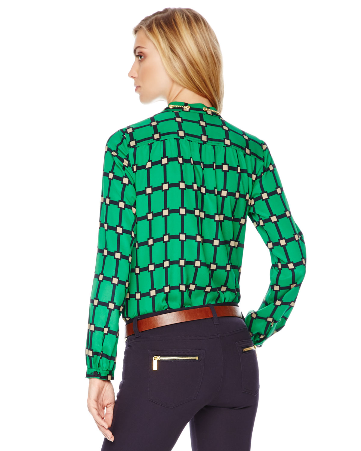 michael michael kors printed chainneck blouse in green lyst. Black Bedroom Furniture Sets. Home Design Ideas