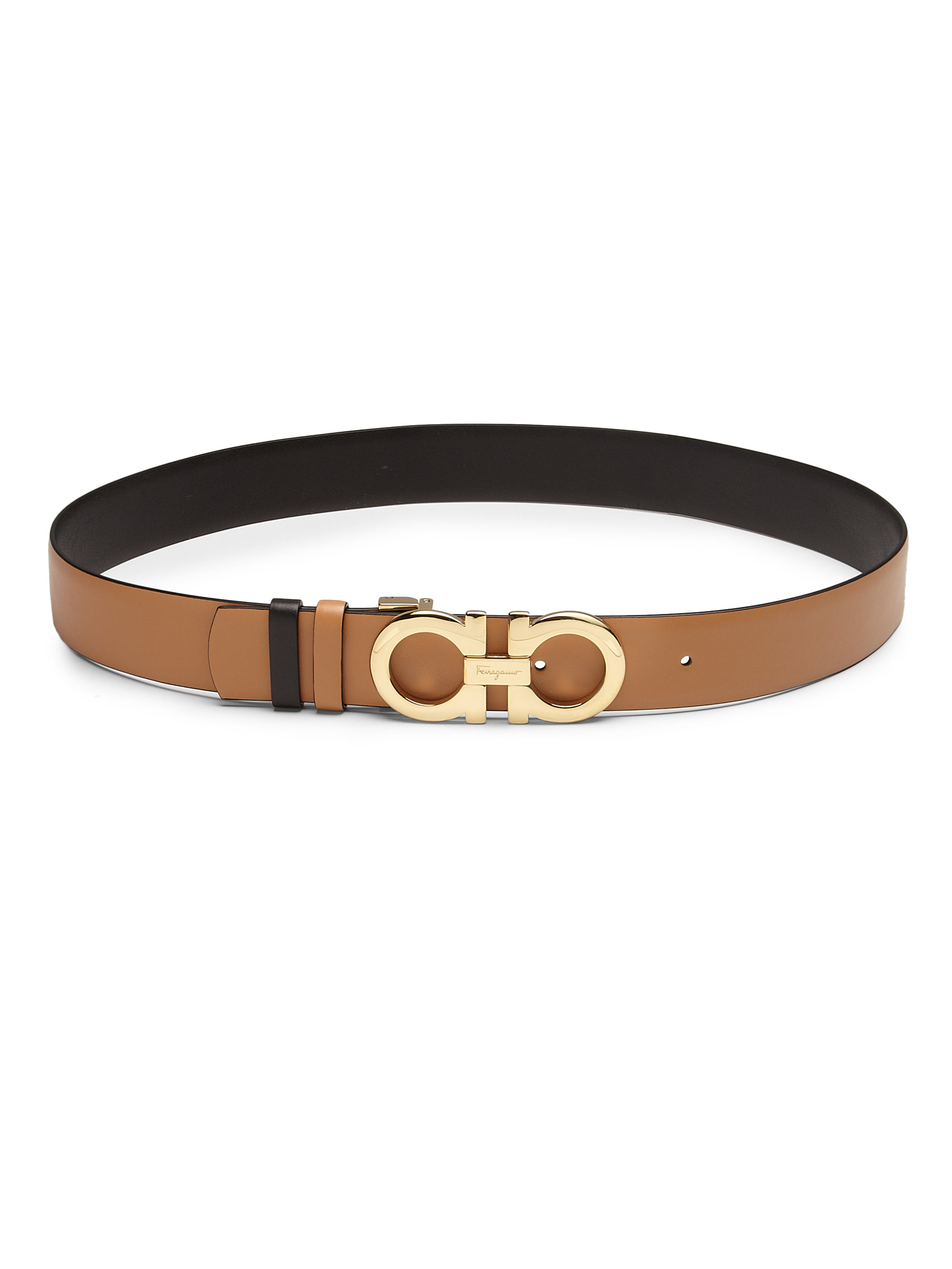 ferragamo gancini medium reversible leather belt in brown