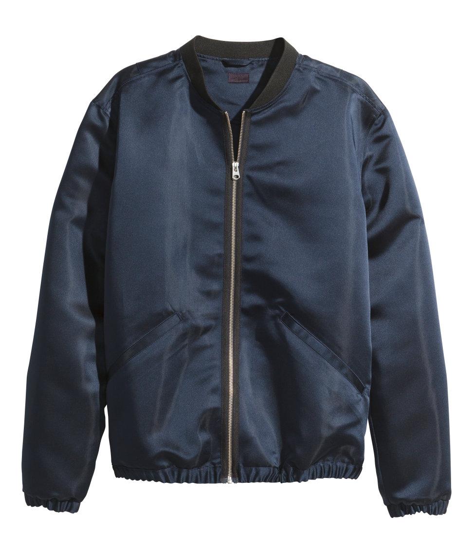 Hu0026m Satin Bomber Jacket In Blue For Men | Lyst