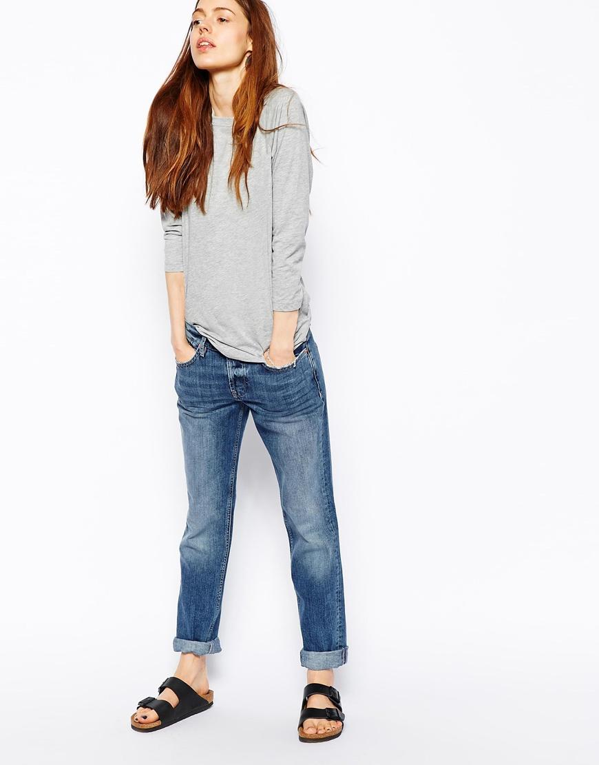 Asos Brady Low Rise Slim Boyfriend Jeans In Ultimate Mid Wash Blue ...