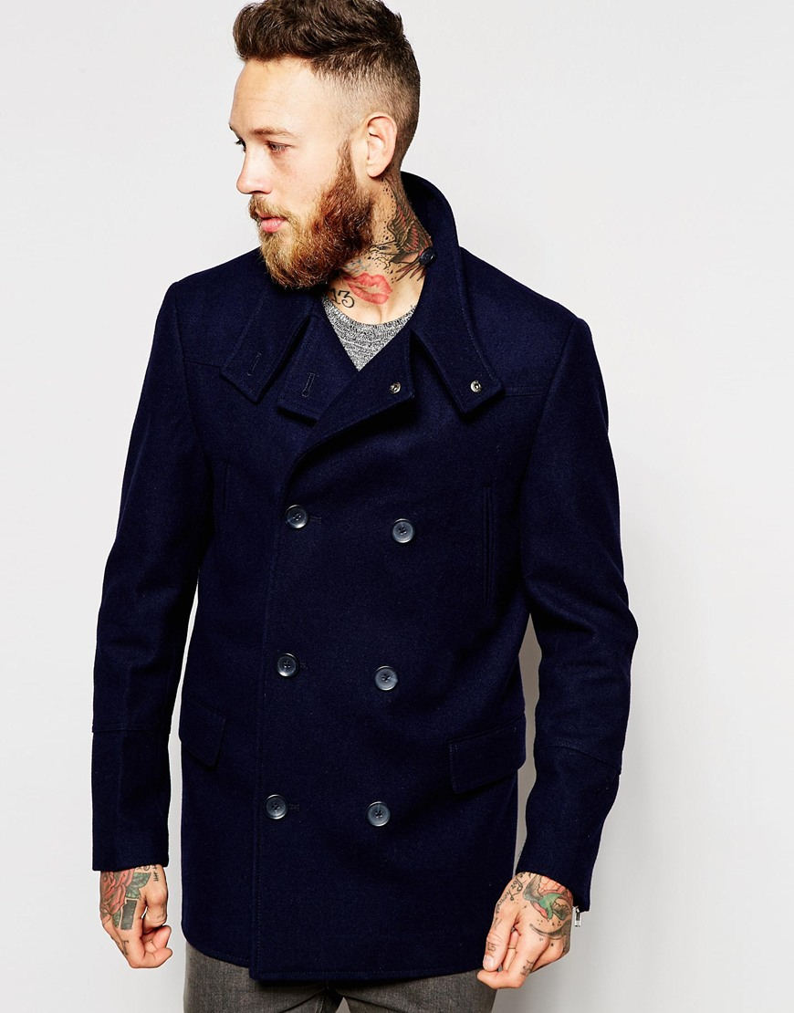 Asos Wool Peacoat With Funnel Neck In Navy in Blue for Men | Lyst