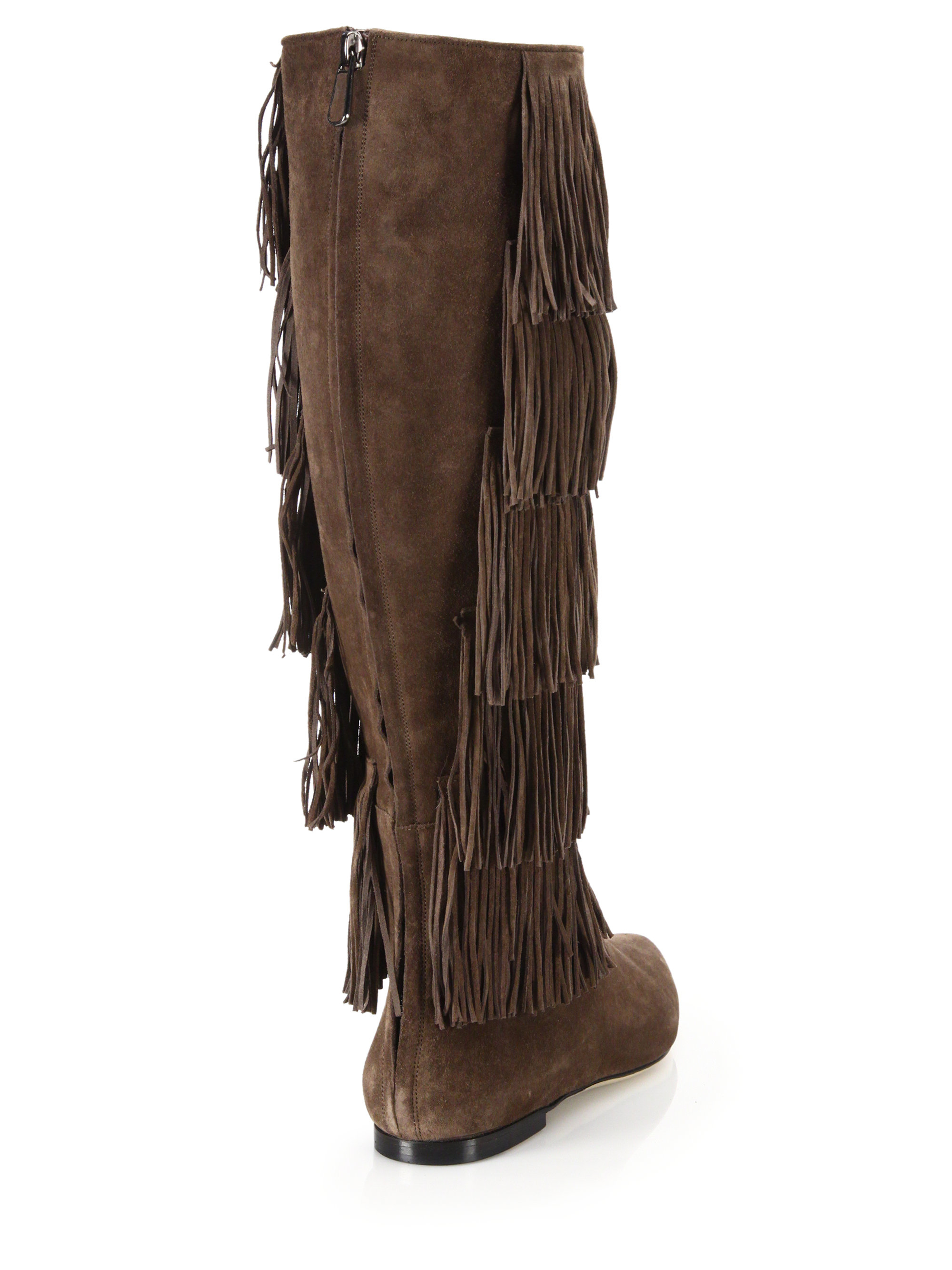 paul andrew fringed suede knee high boots in brown lyst