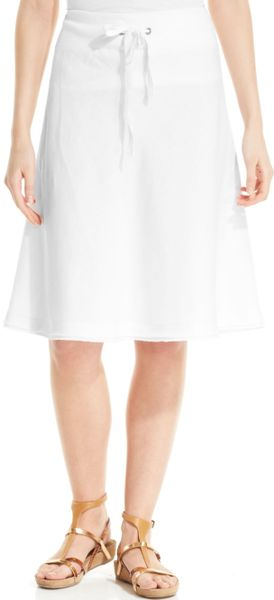 eileen fisher drawstring aline linen skirt in white