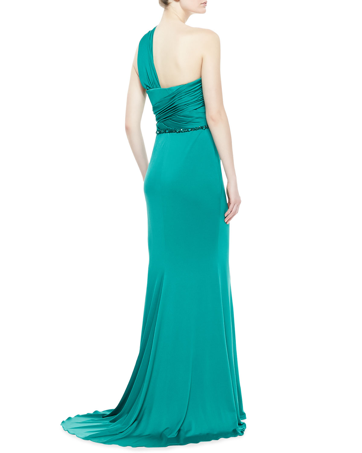 2c281d3fcd7 Badgley Mischka One-shoulder Draped Gown in Blue - Lyst