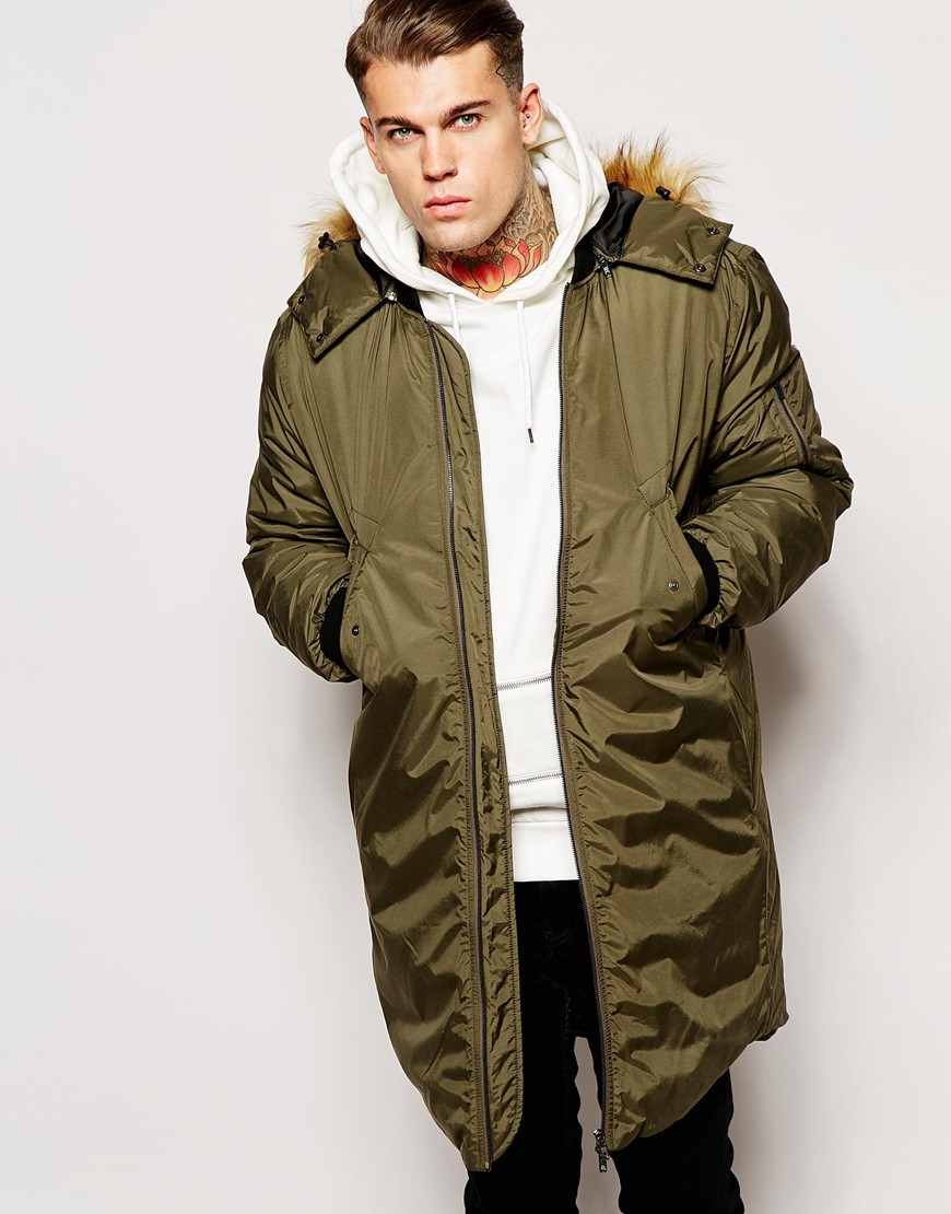 Asos Bomber Parka Jacket 2 In 1 With Removable Hood in Green for ...