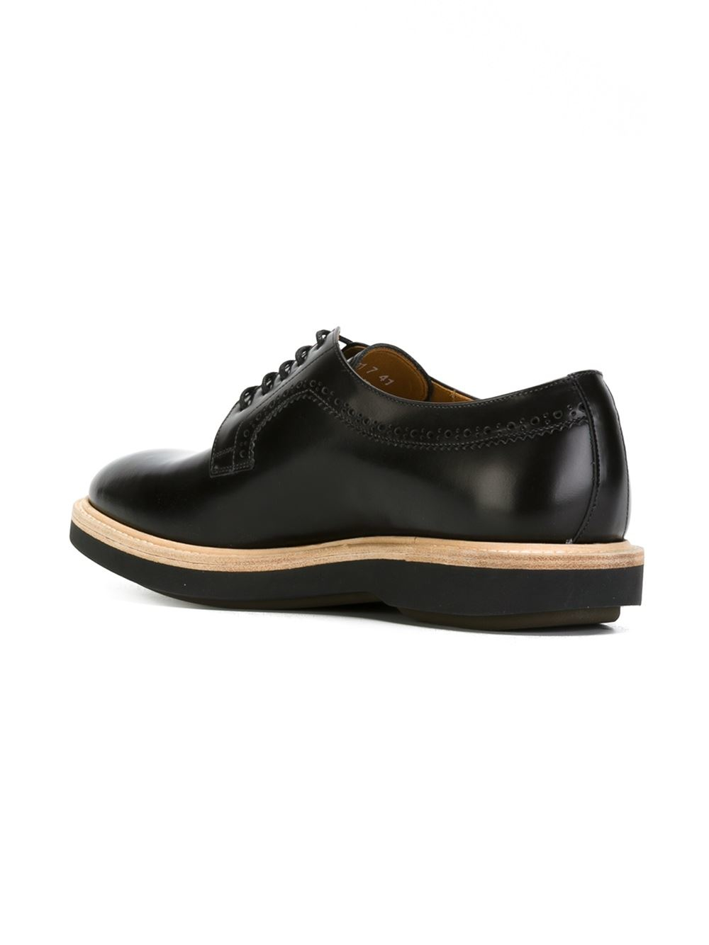 paul smith brogue detail derby shoes in black for lyst
