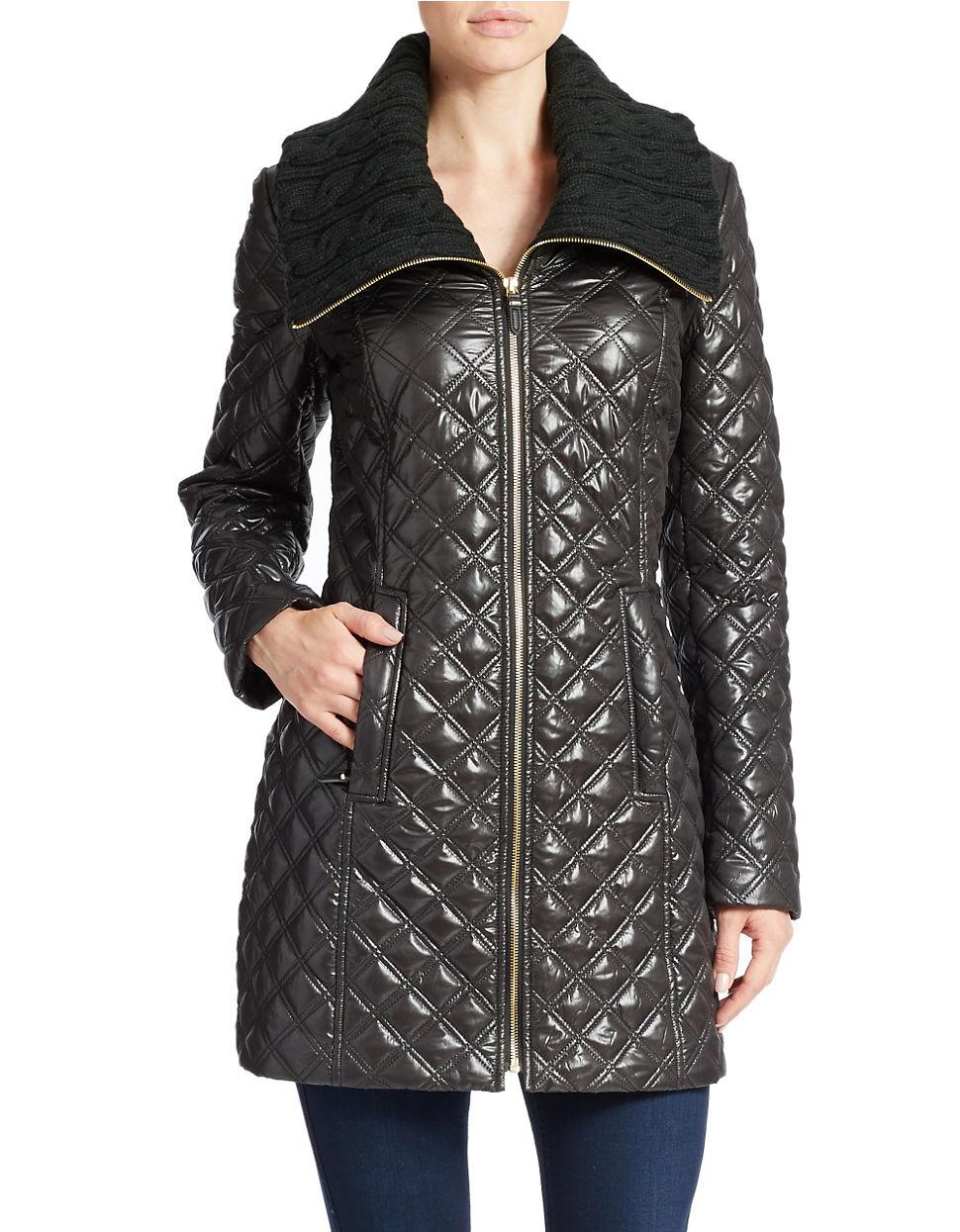 Lyst Via Spiga Quilted Zip Front Jacket In Black
