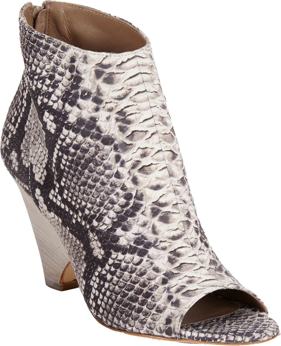 Barneys New York Snakeskin Opentoe Ankle Boots Lyst