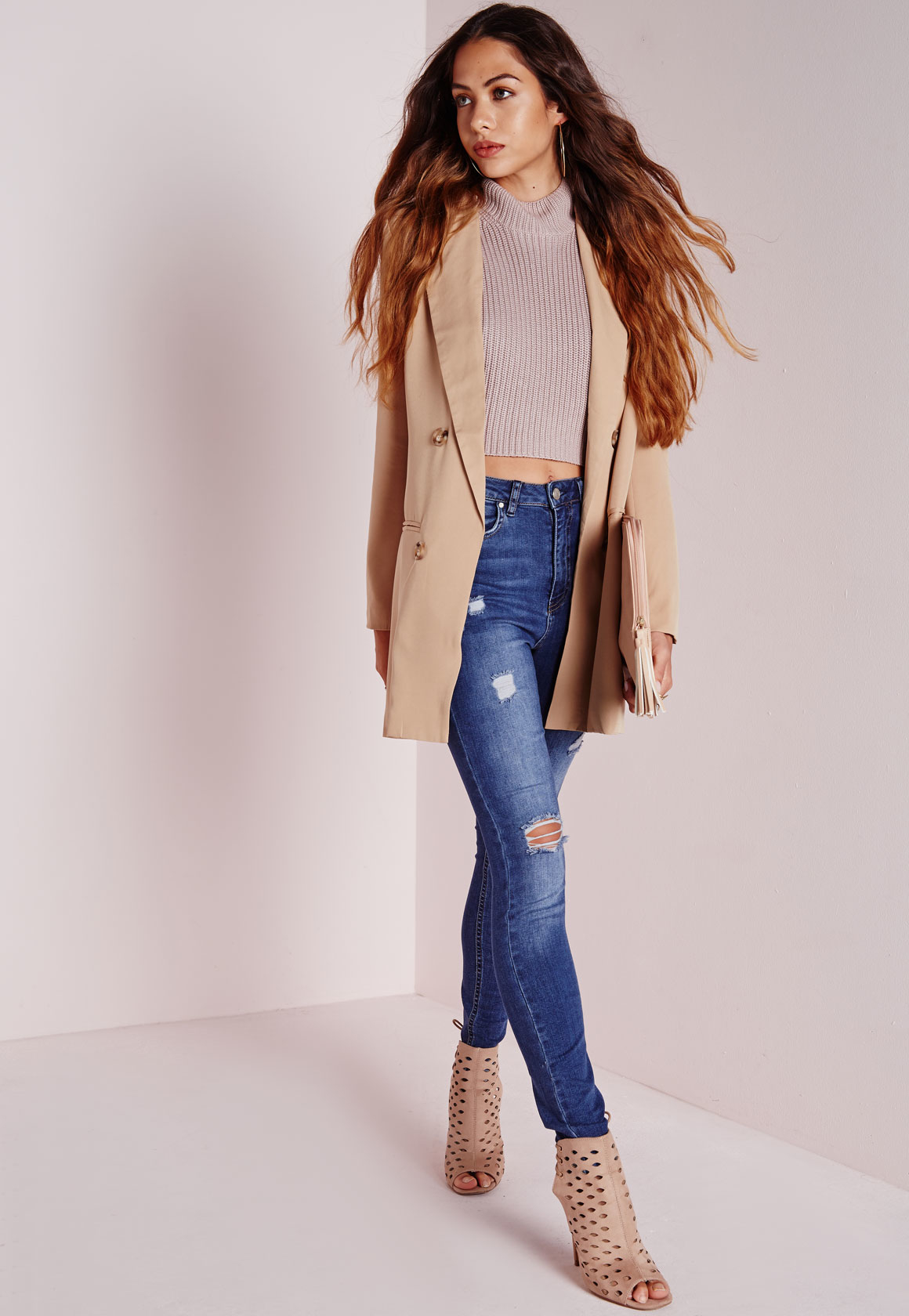 604235b93bb5c3 Lyst - Missguided Double Breasted Blazer Camel in Natural
