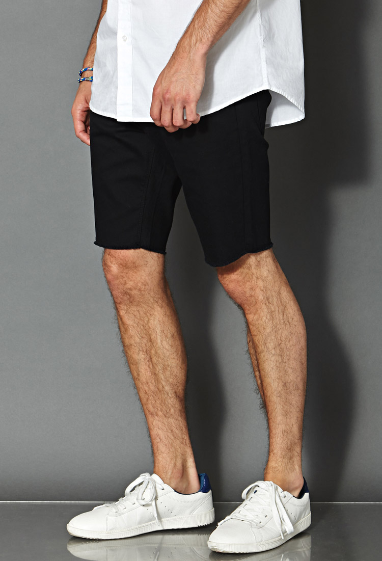 Forever 21 Frayed Denim Shorts in Black for Men | Lyst