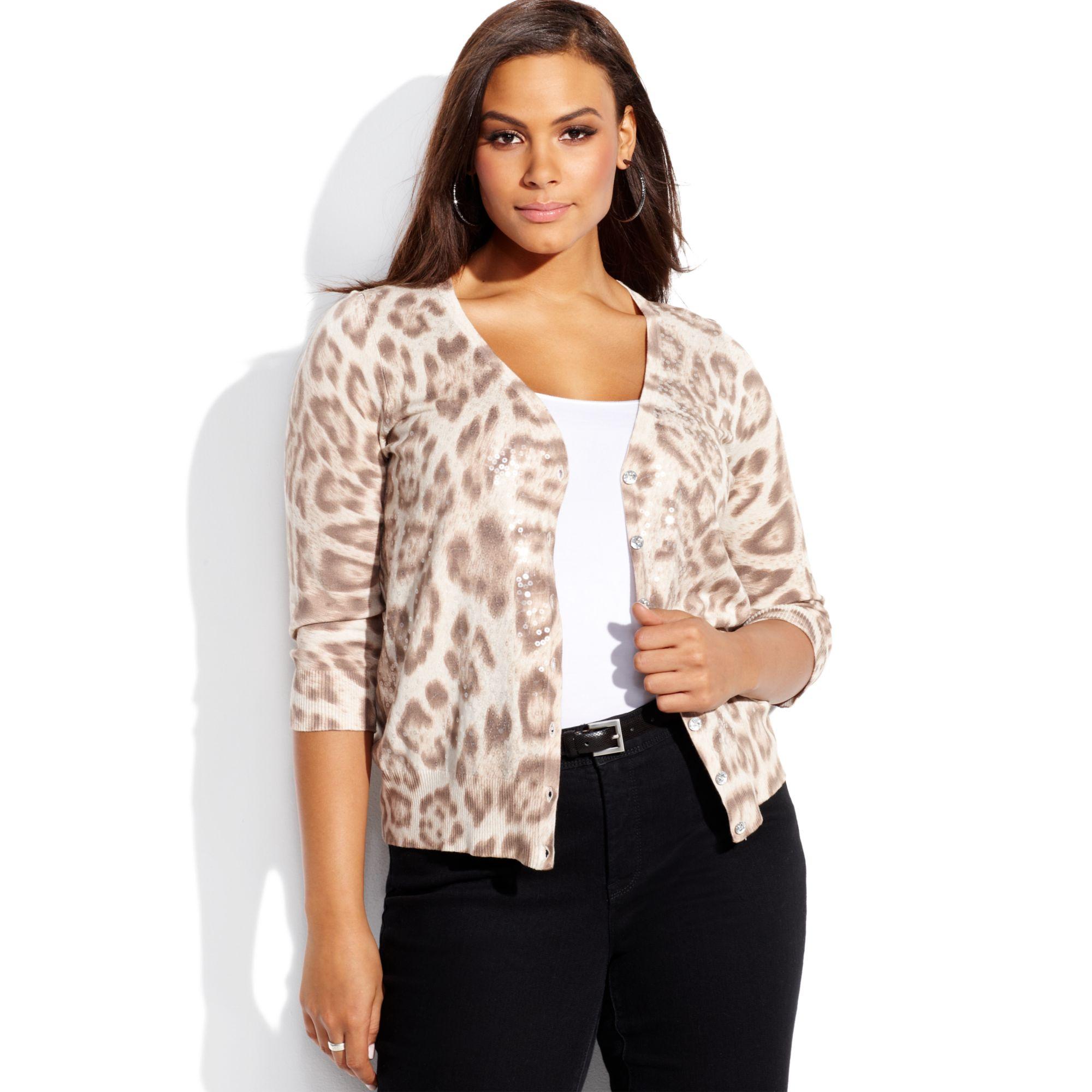 Inc international concepts Plus Size Animalprint Sequin Cardigan ...