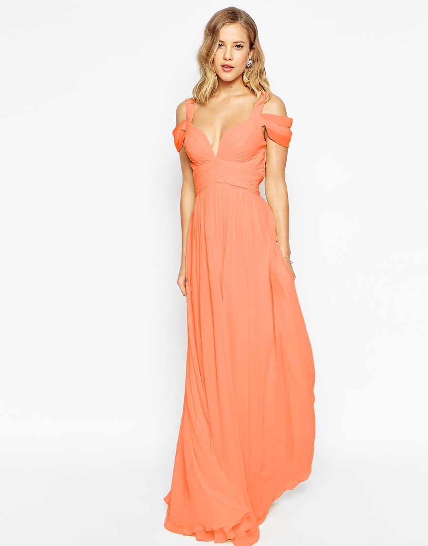 Forever unique Sweetheart Maxi Dress With Off Shoulder in Orange ...