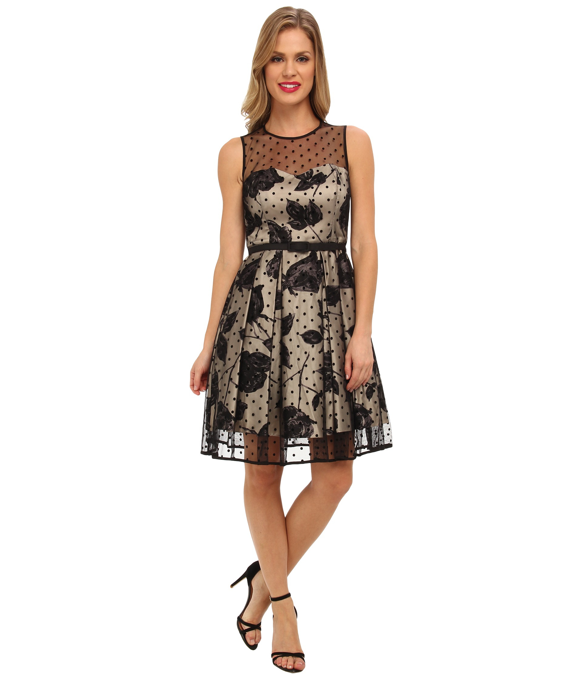 Eliza J Dot Overlay Party Dress In Black Lyst
