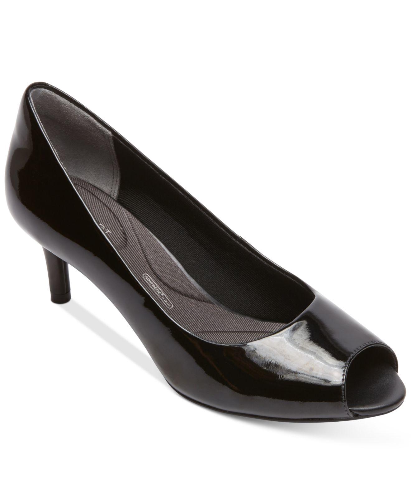 Black Peep Toe Kitten Heel Shoes