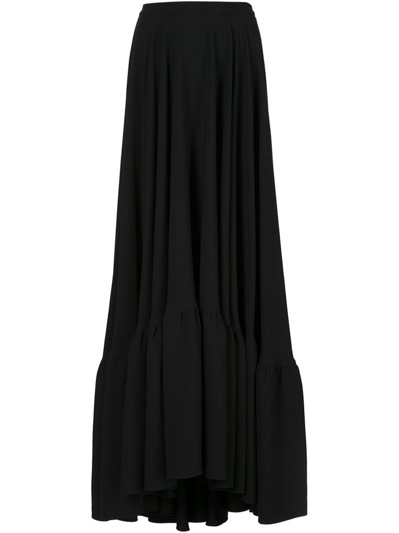 co flared maxi skirt in black lyst