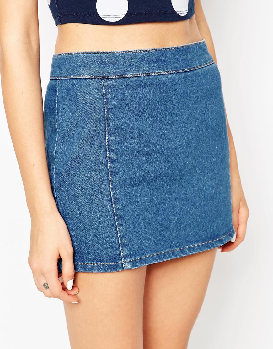 asos denim pelmet skirt in mid wash blue in blue lyst