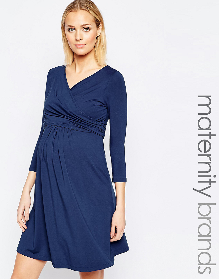 aac7c6c99601f Isabella Oliver Nursing Short Sleeve Wrap Dress With Tie Waist in ...