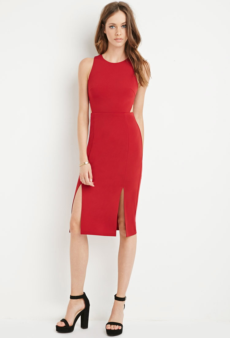 Forever 21 Cutout M-slit Dress in Red | Lyst