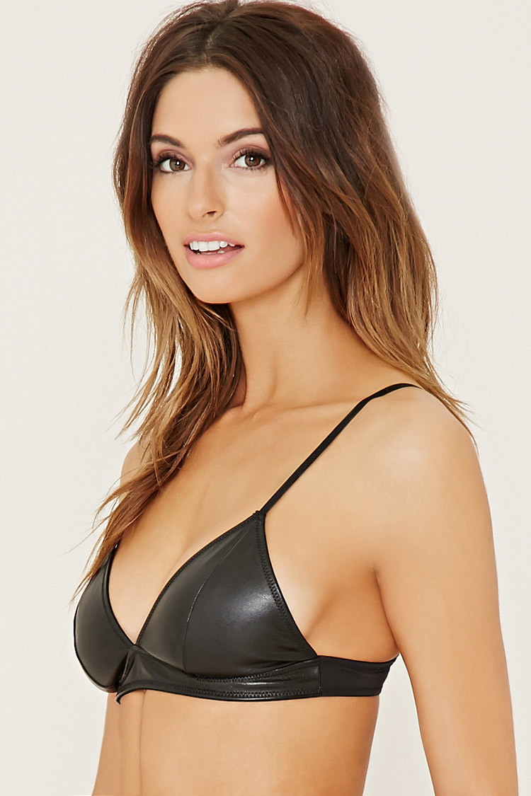 1e6e46179ecfe Lyst - Forever 21 Faux Leather Bralette in Black